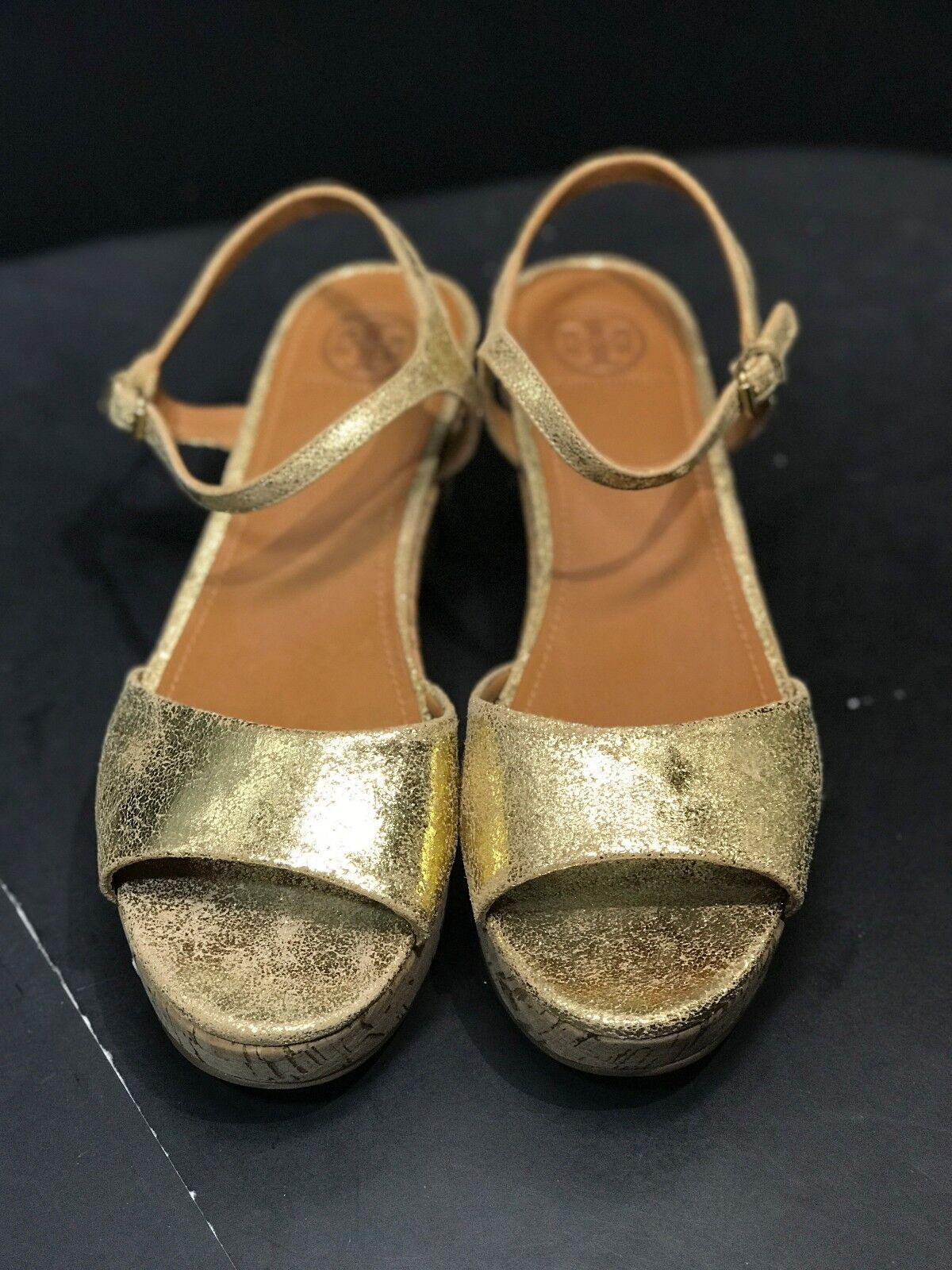 TORY BURCH WEDGE ABENA CRACKLED METALLIC GOLD LEATHER WOMEN SANDAL WEDGE BURCH SIZE US 11 a08871
