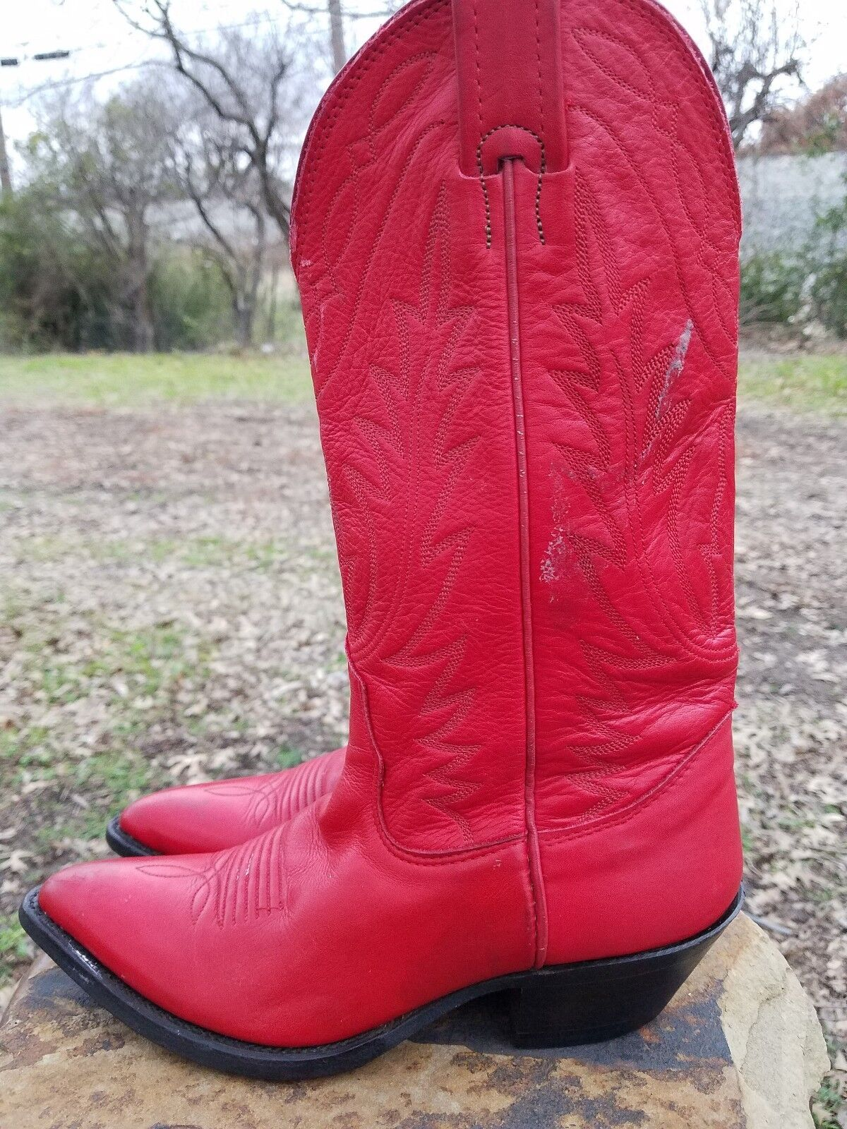 Nocona Red Cowboy Women's Boots Size 5 B Handcrafted In USA