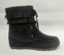 354f3e751805 Girl Soda Tying-2 Suede MOC Toe Fringe Lace up Moccasin Boot Size ...