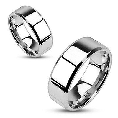 Stainless Steel Bridal Wedding Engagement Band Flat Beveled Edge Ring Size 5-14