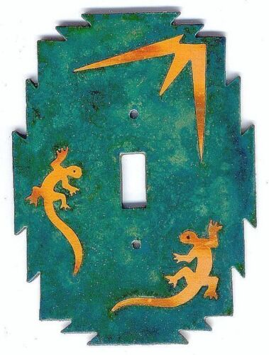 """COPPERCUTTS Lizards Switchplate 4.25/"""" x 6/"""" SouthWest Rustic Style Copper /& Wood"""
