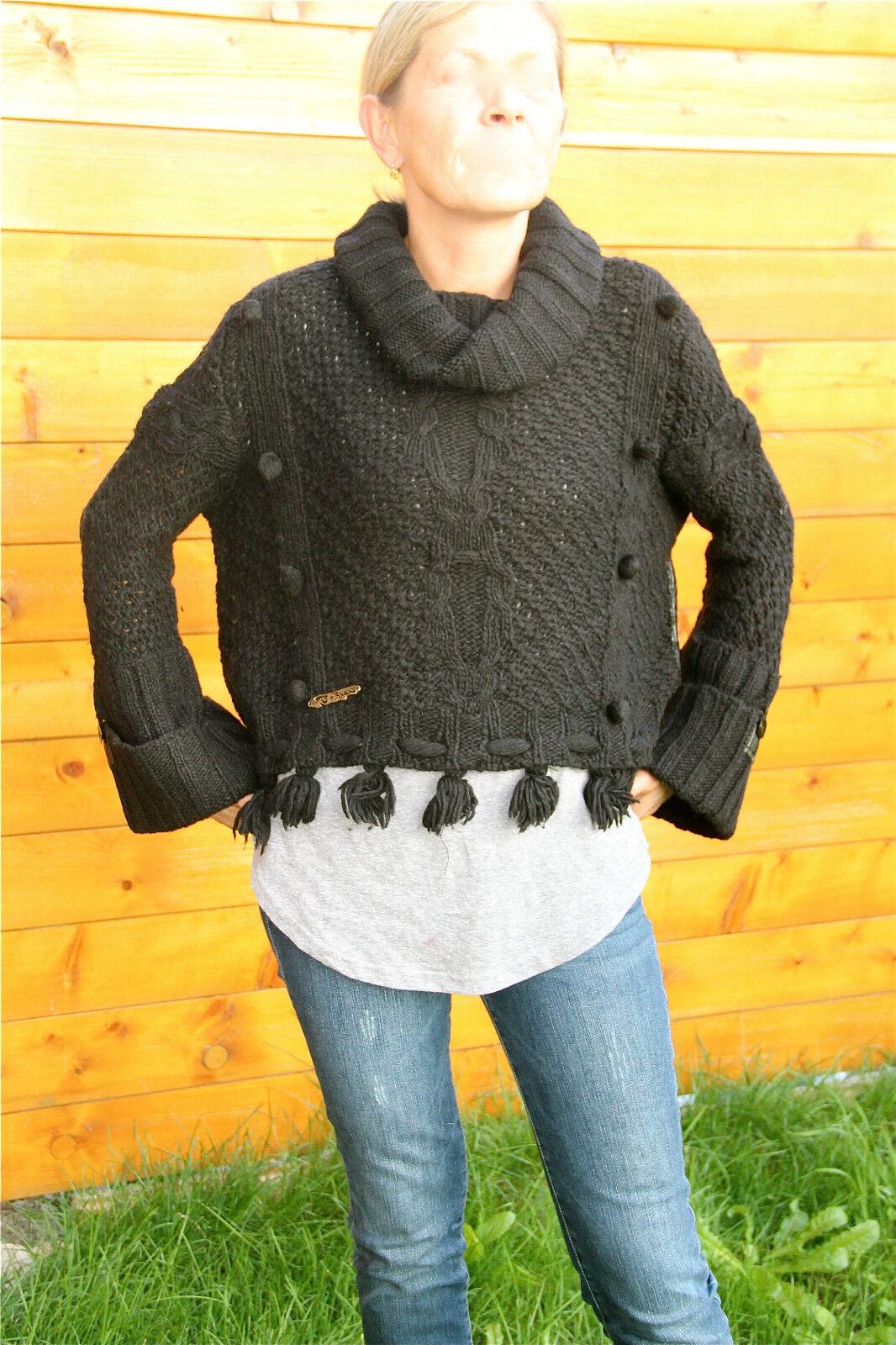 Gros pull court boléro laine black hiver MC PLANET T 36 neuf étiquette Val