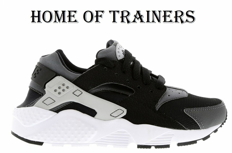 Nike Huarache Run (GS) Damen/Jungen Damen/Jungen Damen/Jungen / Mädchen schwarz-wolf grau dunkel Größe 2 3 379bb3