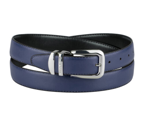 CONCITOR Reversible Belt Solid Colors /& Black Bonded Leather Silver-Tone Buckle