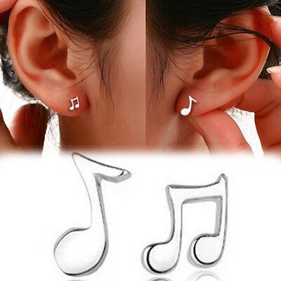 Asymmetry Hypoallergenic Cute Notes Silver plated Ear Stud Earrings Jewelry