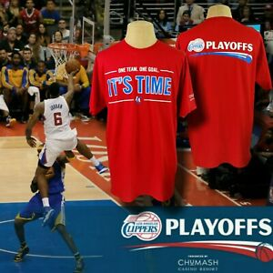 Los Angeles Clippers NBA Playoffs T-Shirt Red XL  It's Time. One Team. One Goal