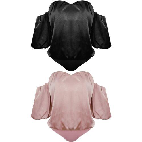 New Satin Off Shoulder Sweetheart Neck Bardot Bodysuit Leotard Bodycon Top