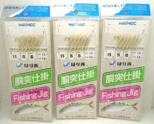 3packs Harihide Japan Sabiki Mackerel Bait Fishing Jig Rig Set Hook Size 15