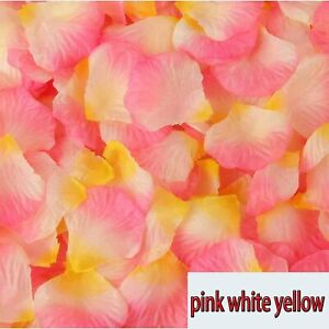 Details About Pink Yellow White Flower Petals Wedding Silk Decoration Artificial Rose Confetti