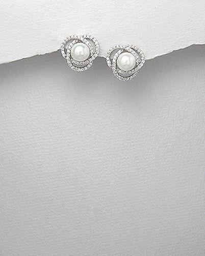 3.5g Solid Sterling Silver 14mm Pearl /& CZ Love Knot Stud Earrings Premium Backs