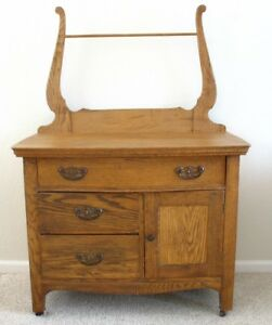 Antique Oak Or Ash Wash Stand Commode