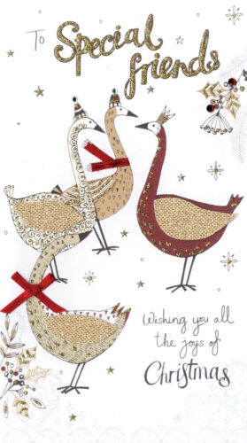 Special Friends Embellished Christmas Card Hand-Finished Champagne Range Cards