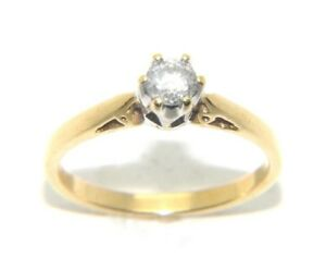 Womens-Ladies-18carat-18ct-Yellow-Gold-Diamond-Solitaire-Engagement-Ring-Size-N