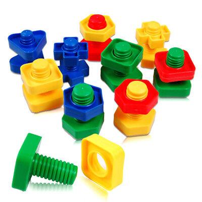 1 set Screw Building Blocks Insert Blocks Nut Shape Kids Educational Gift Toy tr