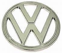 VOLKSWAGEN VW BUS FRONT EMBLEM WHITE TYPE-2 BUS 1973-1979  211853601E