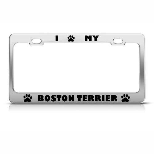 BOSTON TERRIER DOG DOGS CHROME License Plate Frame Tag Holder