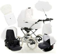 White Baby Pram Pushchair Buggy Stroller Classic Travel System