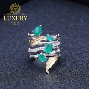 Natural-2-26Ct-Green-Agate-Gemstone-Solid-925-Sterling-Silver-Vintage-Ring