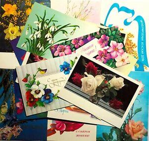 Postcards-Mixed-Lot-17-pcs-Vintage-Unposted-Card-Flowers-60-80s-Postcards-set