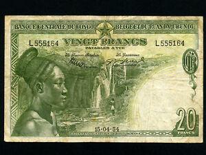 Belgian Congo:P-26,20 Francs, 1954 * Woman *