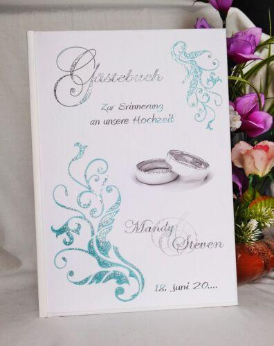 HARDCOVER Gästebuch Gästebücher zur Hochzeit Ornamente Ringe Gold Silber Glitzer