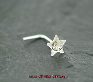 Nasenpiercing-STERN-Star-Nasenstecker-Kristall-KLAR-Silber-925-Silberstecker