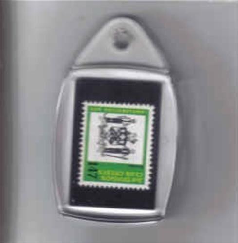 1970s Sun Football Club Crest Badge Stamp Plastic Keyring - Various Teams
