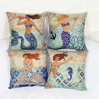 1pcs Mermaid linen Throw Pillow Cases Home Sofa Decorative Cushion Cover Pad