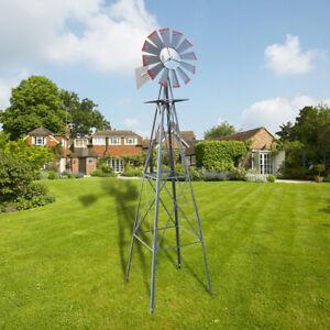 8ft-Ornamental-Decor-Garden-Windmill-Weather-Vane-Galvanized-w-Silver-Red-Tips