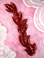 "FS511 Applique Red Sequin Beaded Sewing Crafts Patch Motif Leaf Vine 8.25"""
