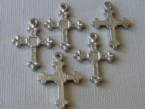 KREUZ Anhänger gothic verziert Metall silber 27 mm 1 Stück 1459