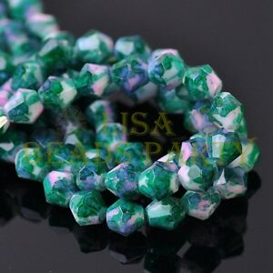 New-30pcs-8mm-Bicone-Faceted-Glass-Loose-Spacer-Colorized-Beads-Green-amp-Purple