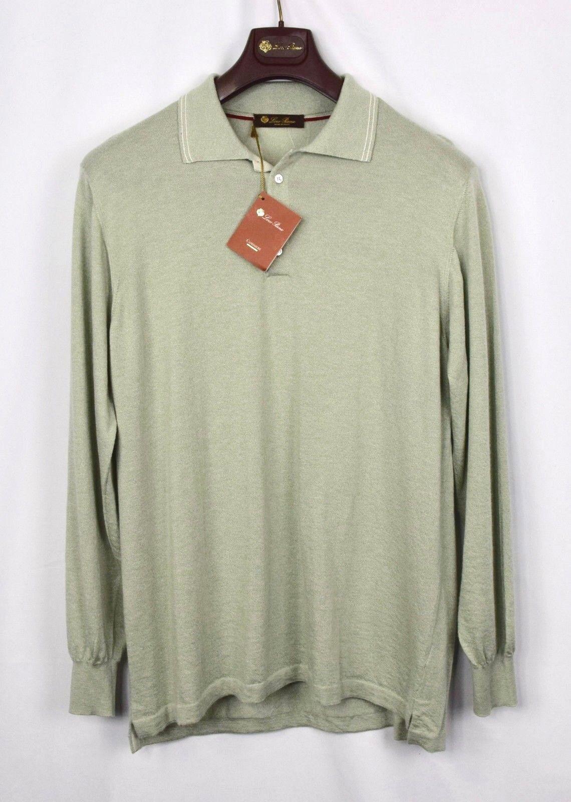 1295 NWT - LORO PIANA 100% CASHMERE Polo Sweater -Light Grün - 58 XXL