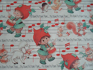 "Vintage Christmas Childrens Wrapping Paper 5 yds x 24"" Cut off Roll"