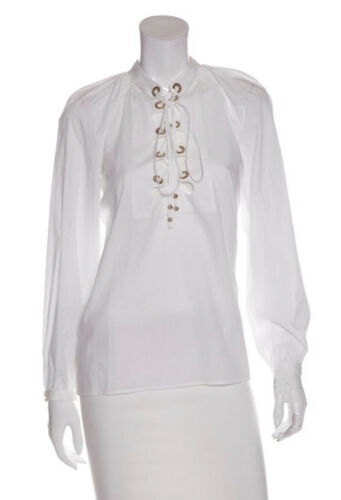 Gucci Lace Up Blouse White Size 42 M