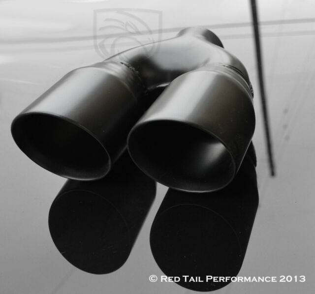 """2.75/"""" ID Trunk Pickup Exhaust Muffler Dual Black 3.5/"""" Round Tip Side Out 2.5/"""""""