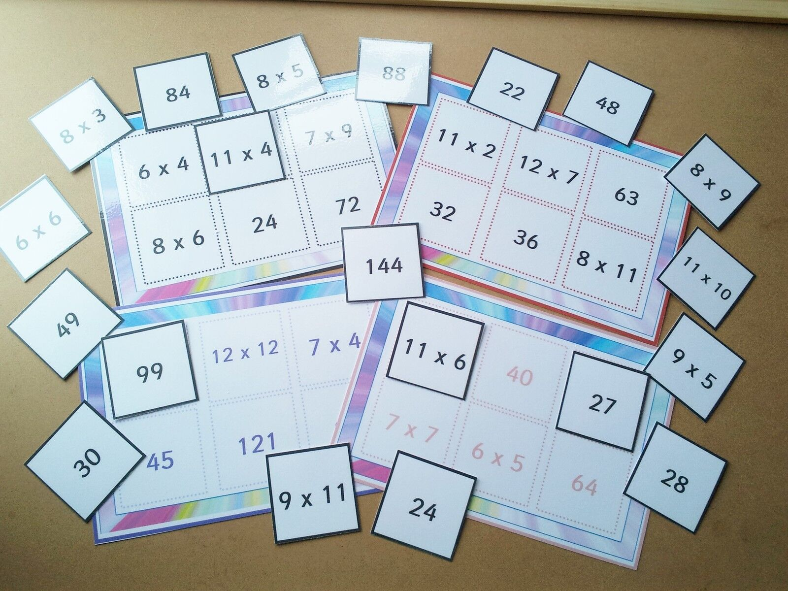 TIMES TABLE LOTTO   BINGO - LEARN 6X - 12X - FUN LEARNING RESOURCE - 6 PLAYERS