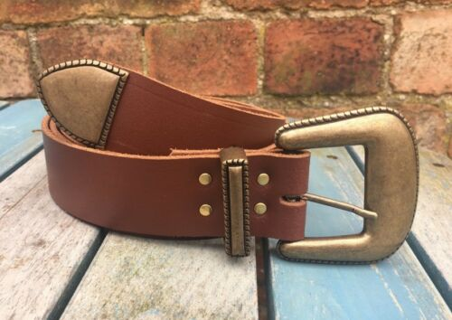 Lariat Buckle set Leather Belt Choice of Colours Handmade 100/% Real Leather