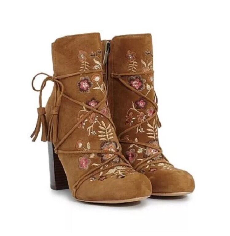 8M - Sam Edelman ANTHROPOLOGIE Floral Embroidered Boots Booties Whiskey Suede