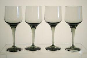 RHAPSODY-SMOKE-ORREFORS-Sherry-or-Port-Wine-Glasses-5-034-SET-of-FOUR-Smoked-Glass