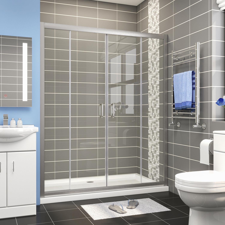 Elegant 60 W Double Sliding Shower Doors 60 W Clear Glass 1 4 Brushed Nickel