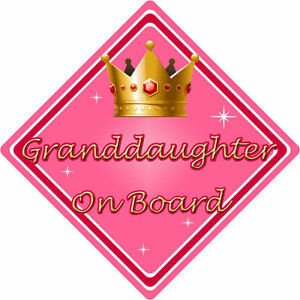 Non Personalised Child//Baby On Board Car Sign ~ Granddaughter On Board ~ Blonde