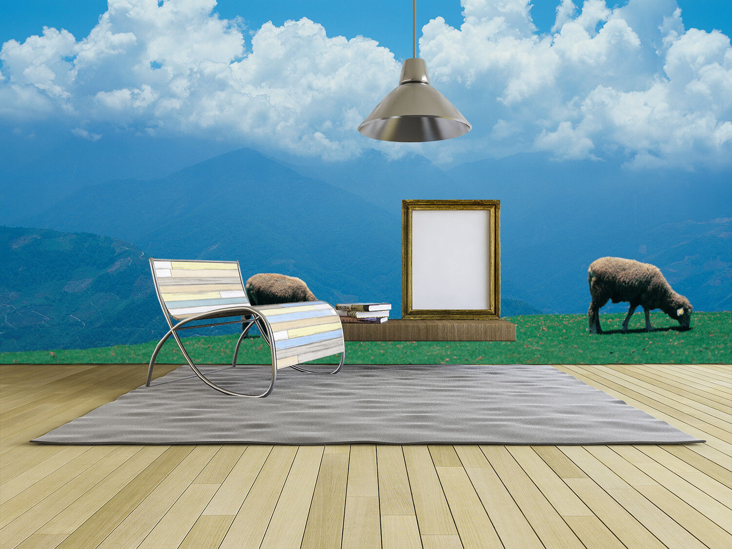 3D White Sheep 64 Wallpaper Murals Wall Print Wallpaper Mural AJ WALL UK Lemo