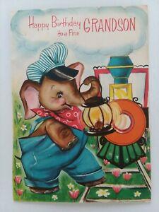 1964-Vtg-ANTHROPOMORPHIC-ELEPHANT-Pop-Up-TRAIN-GRANDSON-Birthday-GREETING-CARD