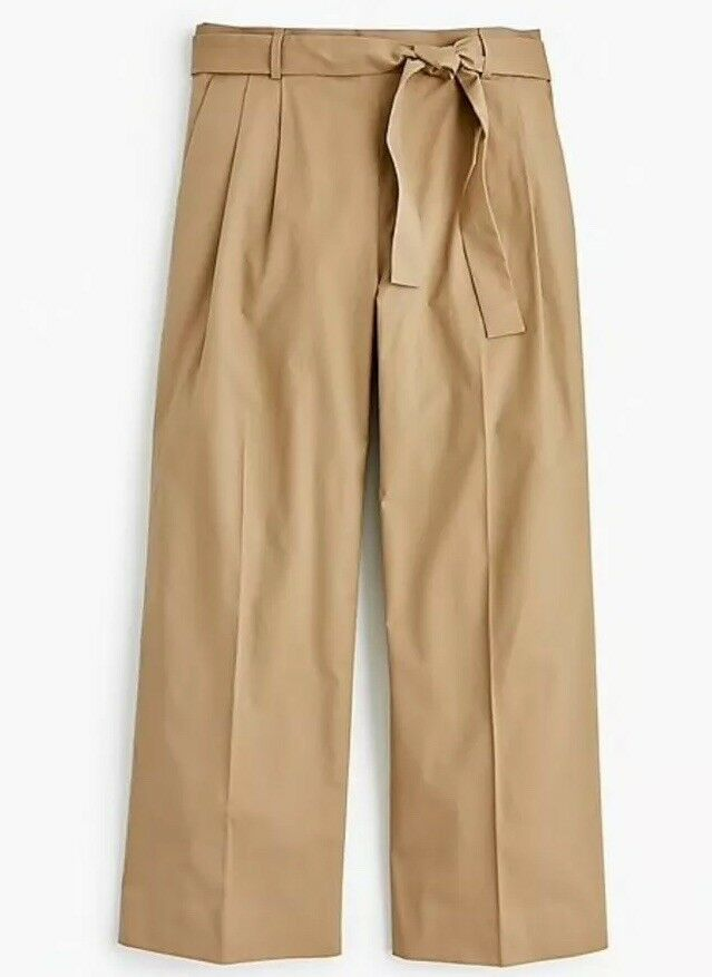 New J Crew Petite Wide- Leg Cropped Pant In Cotton- Poplin Größe 8P J1023 Khaki