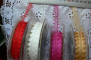 Sheer-Satin-STAR-Edged-15mmWide-3-or-5Metres-FUCHSIA-RED-GOLD-IVORY-Choice-BR14