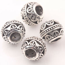 10Pcs Tibetan Silver Charms Spacer Big Hole Beads Jewelry Findings Making 10mm A