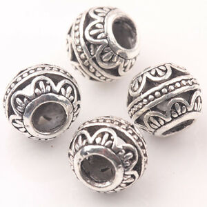 10Pcs-Tibetan-Silver-Big-Hole-Loose-Spacer-Beads-Jewelry-Making-Finding-Craft