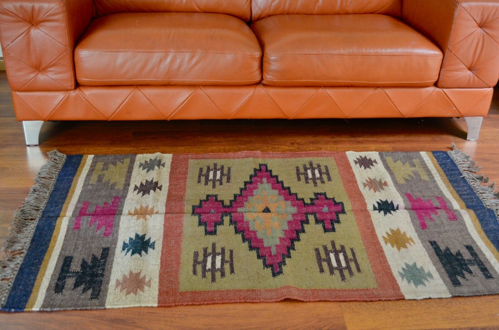 Kilim Rug Indian Jute Wool Hand Knotted Geometric 90x150cm 3x5ft KR1814