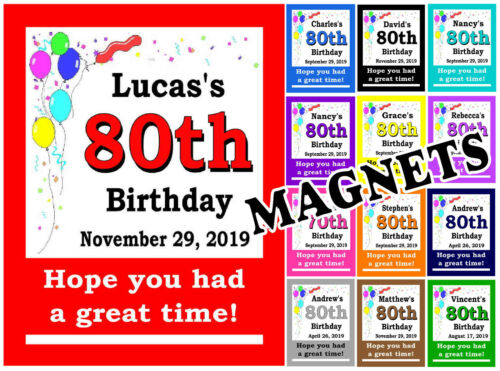 SET OF 15 MAGNETS 80TH BIRTHDAY PARTY FAVORS MAGNETS